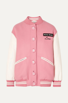 Miu Miu Oversized Two-tone Leather And Wool Bomber Jacket