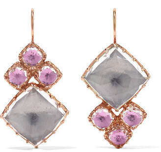 Larkspur & Hawk - Sadie Cluster Rose Gold-dipped Quartz Earrings