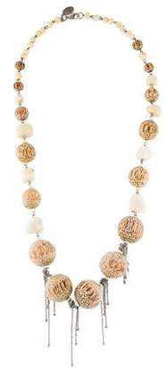 Erickson Beamon Wood & Coral Bead Necklace