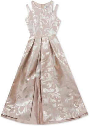 Rare Editions Big Girls Metallic-Print Maxi-Overlay Dress