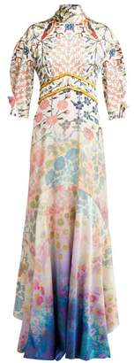 Peter Pilotto Gradient Floral Print Silk Blend Gown - Womens - White Multi