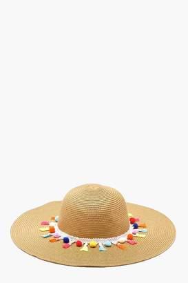 boohoo Pom & Tassel Straw Floppy Hat
