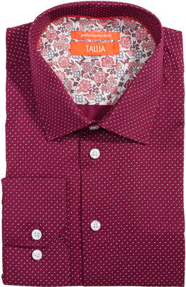 Tallia Men Slim-Fit Non-Iron Performance Stretch Printed Dotted Micro Check Dress Shirt