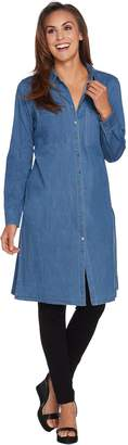 Denim & Co. Stretch Denim Button Front Duster Shirt