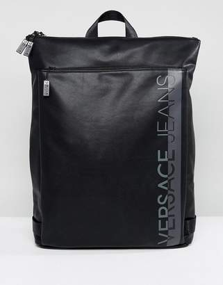 Versace Backpack In Black With Large Logo