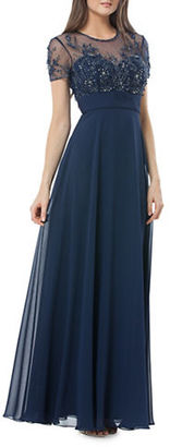 Js Collections Roundneck Embellished Gown $399 thestylecure.com