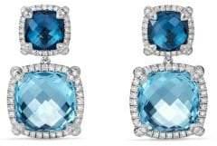 David Yurman Chatelaine Pavé Bezel Double Drop Earring with Blue Topaz and Diamonds