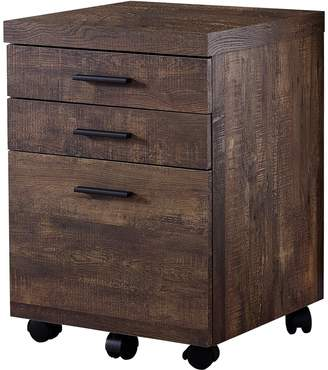 Monarch Specialties Brown Wood Grain 3-Drawer Filing Cabinet
