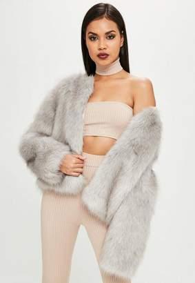 Missguided Carli Bybel x Gray Faux Fur Jacket