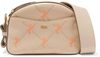 Chloé Studded Embroidered Leather Shoulder Bag - Gray