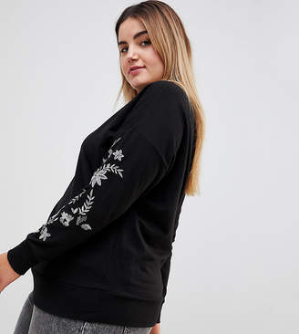 New Look Plus Curve Embroidered Sleeve Sweat Top