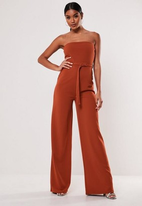 Missguided Burnt Orange Bandeau Buckle Wide Leg Romper