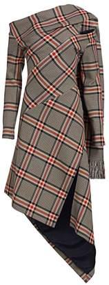 Monse Asymmetric Plaid Shawl Dress