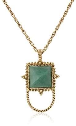 1928 Jewelry Womens Gold-Tone Semi-Precious Aventurine Square Eyeglass/Badge Holder Pendant Enhancer