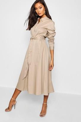 boohoo Belted Utility Midi Shirt Dress