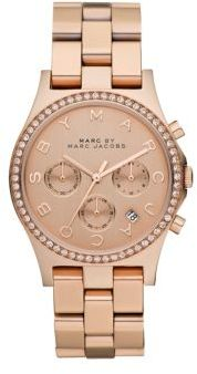 Marc by Marc Jacobs Henry Glitz Rose Goldtone Stainless Steel Chronograph Watch $275 thestylecure.com