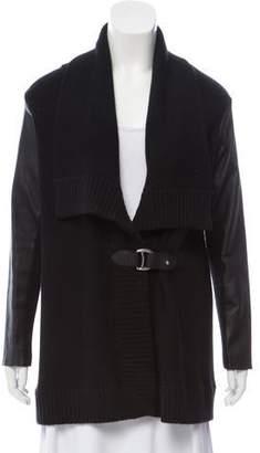 Ralph Lauren Black Label Leather-Trimmed Knit Cardigan