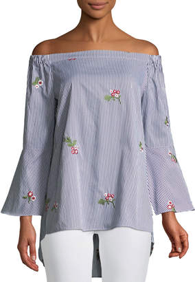Neiman Marcus Off-The-Shoulder Embroidered Striped Blouse