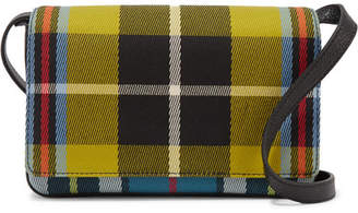 Burberry Checked Twill And Textured-leather Shoulder Bag - Yellow