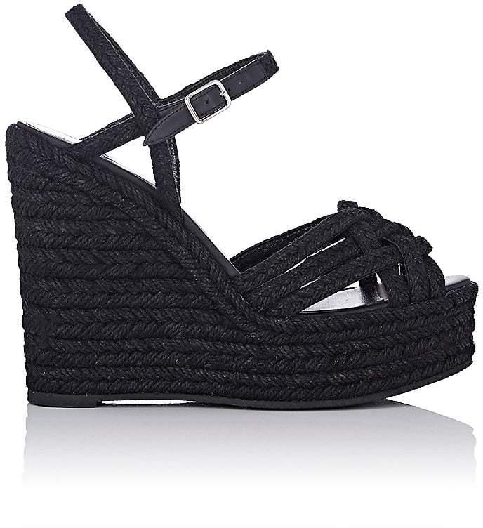 Saint Laurent Women's Raffia Platform Espadrille Sandals