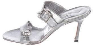 Manolo Blahnik Embellished Leather Sandals