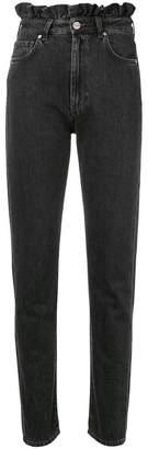 Pinko ruffle trim tapered jeans