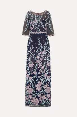 Marchesa Embroidered Guipure Lace Gown - Navy