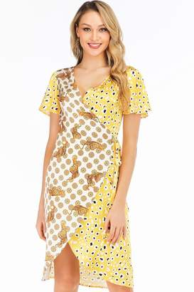 e4d59dd77e14 D. Anna Yellow Leopard & Tiger Contrast Satin Wrap Dress