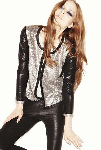 Generation Love Ines Sequin Leather Cardigan