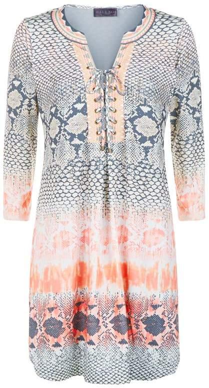 Lace-Up Snakeskin Print Jersey Dress