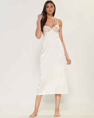 La Perla Ivory Lace Trim Silk-Blend Nightgown