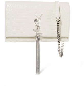 Saint Laurent Kate Small Croc-effect Leather Shoulder Bag - Ivory