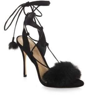 Schutz Lori Suede& Rabbit Fur Heels