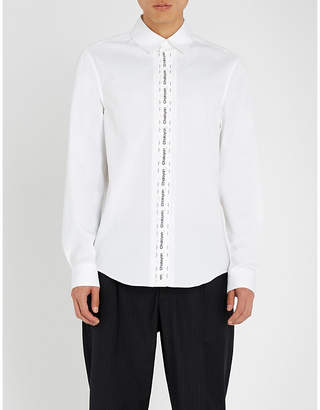 Chalayan Logo tape-detail regular-fit cotton-poplin shirt