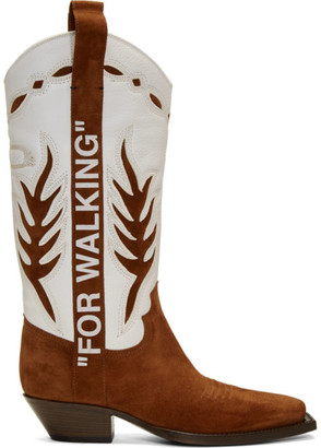 Off-White Off White Brown and White Cowboy Boots