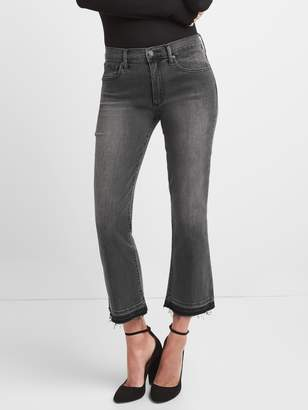 Gap High Rise Crop Flare Jeans with Raw Hem