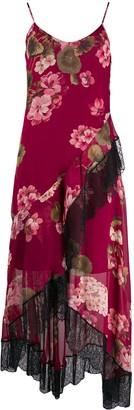 Twin-Set floral asymmetric slip dress