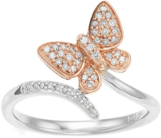 Two-Tone 10k Rose Gold & Sterling Silver 1/6 Carat T.W. Diamond Butterfly Ring