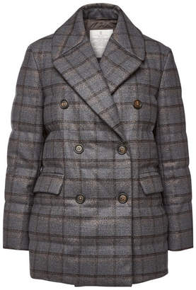 Brunello Cucinelli Printed Wool Down Jacket with Embellishment