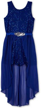 BCX Big Girls Plus Sequin Lace Maxi-Overlay Romper