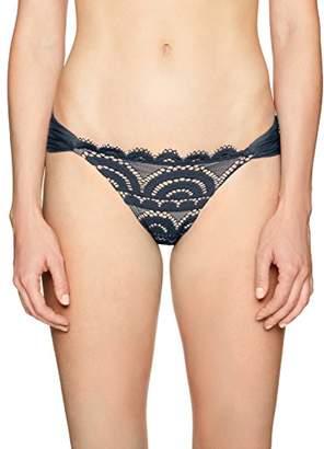 Pilyq Women's Sexy Lace Fanned Full Coverage Swimsuit Bikini Bottom