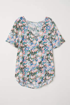 H&M Short-sleeved Viscose Blouse - White