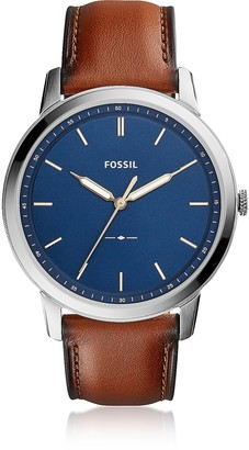 Fossil The Minimalist Slim Three-Hand Light Brown Leather and Blue Dial Men's Watch