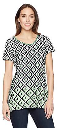 Ruby Rd. Women's Printed Short Sleeve Knit Top with Sharkbite Hem