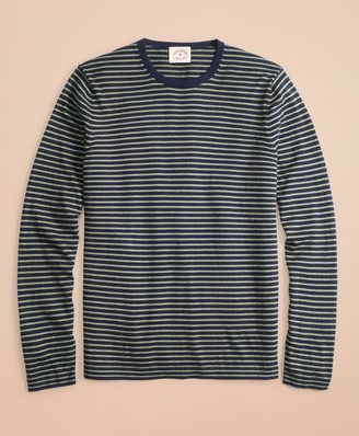 Brooks Brothers Cotton-Cashmere Striped Crewneck Sweater