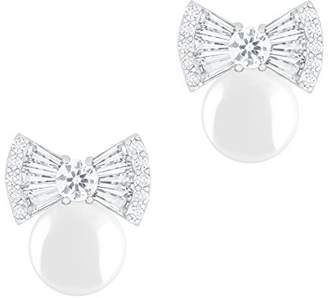Co Orrous & 18K Gold Plated Round Simulated Shell Pearl With Cubic Zirconia Bow Stud Earrings