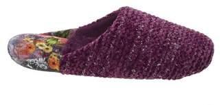 Dearfoams Women's Chenille Rib Knit Scuff with Velour Heel Slippers