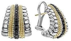 Lagos 18K Yellow Gold & Sterling Silver Diamond Lux Black Diamond Omega Clip Earrings