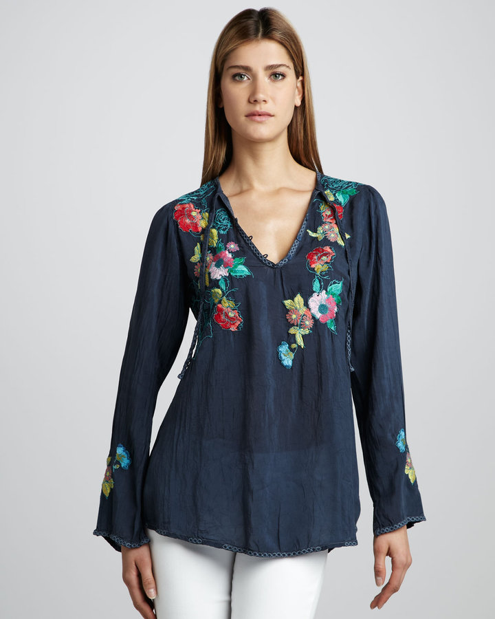 Johnny Was Collection Cynthia Embroidered Blouse