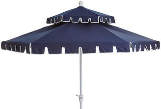 One Kings Lane Poppy Two-Tier Patio Umbrella - Navy